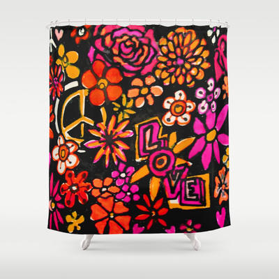Peace Love and Flower Power Shower Curtain by RokinRonda