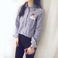 Long Sleeve Striped Shirt Embroidered with Cat