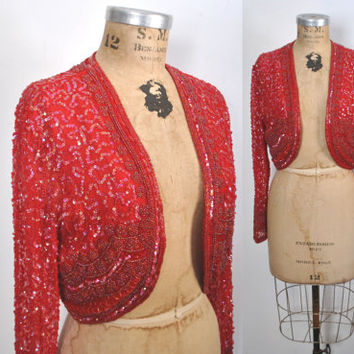 RED Sequin Jacket / beaded bolero / S-L