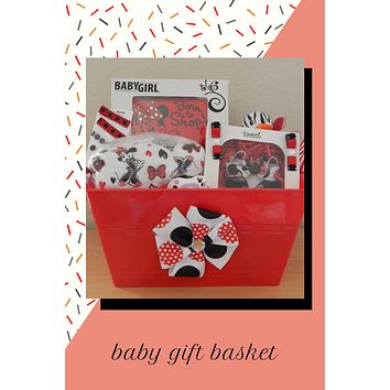 Minnie Mouse Baby Shower Gift Basket (Hair clips included!)