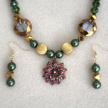 Holly Green-Christmas-Jewelry Set-2 Piece Handmade Ladies Necklace & Earrings- Glass Beadwork- Handcrafted-Trending -Gifts for Her-Treasury