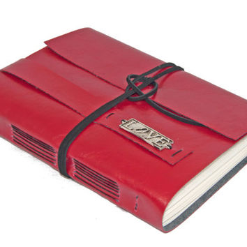 Large Red Faux Leather Wrap Journal with Lined Paper and Love Bookmark - Ready To Ship -