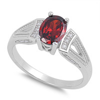 925 Sterling Silver CZ Oval Center Simulated Garnet Ring 8MM