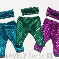 Mermaid Baby Leggings,Little Mermaid Leggings,capris Baby Girl clothes baby toddler child spandex pants Outfit Set,Headband