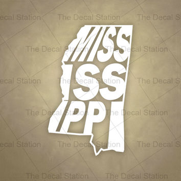 Mississippi Vinyl Decal Sticker for Car Truck Auto. Word Art . US State Pride.