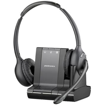 Plantronics Savi W720 Headset - Stereo - Wireless - DECT - 393.7 ft - Over-the-head - Binaural - Semi-open - Noise Cancelling Microphone