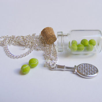 Tennis Racket and Balls Miniature Bottle Pendant,,Miniature Bottle Necklace,Mini Bottle Necklace,Gift for Tennis Player,Tennis Racquet