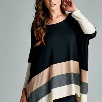 """Take It Easy"" Striped Tunic, Black"
