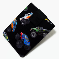 Tablet Case, iPad Cover, Monster Trucks, Four Wheeler,  Kindle Case,  7, 8, 9, 10 inch Tablet Sleeve,  Cozy, Handmade, FOAM Padding, Black