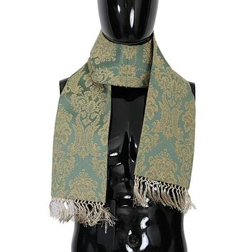 Dolce & Gabbana Green Gold Jacquard Cotton Scarf