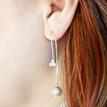 Dangle Earrings, Clover and Pearl Earrings, Drop Earrings, Simple Long Pearl Earrings, Christmas Gift Idea, Stocking Stuffers