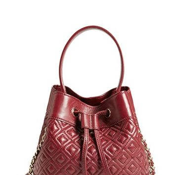 Tory Burch 'Mini Marion' Quilted Lambskin Bucket Bag
