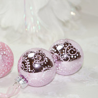 Charming Eye Candy – Collection of 3 Mini Pale Pink Hand Painted Glass Christmas Ornaments with White Swirls and Dots