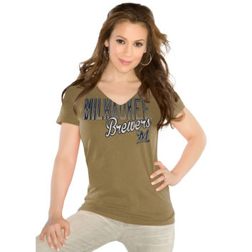 Touch by Alyssa Milano Milwaukee Brewers Ladies Slim Fit Start Up T-Shirt - Gold