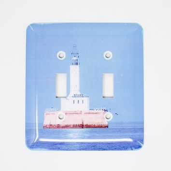 Gray's Reef Michigan Lighthouse Design Gloss Light Switchplate, flaw, Photograph