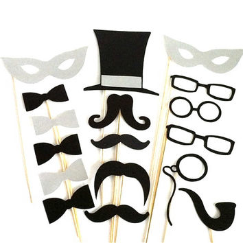 Photo Booth Props Party Pack of 17 Wedding PhotoBooth Props Party Photo Props Party Decorations Party Supplies Masks Glasses Mustache Silver