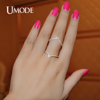 UMODE 2017 Hot Top Zircon Long Finger Ring For Women Fashion Rose Gold Color Wedding Rings Jewelry Knuckle Rings Anillos UR0053