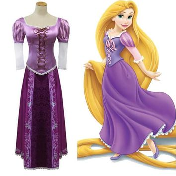 Rapunzel Cosplay Costume Women Tangled Rapunzel Princess Dresses