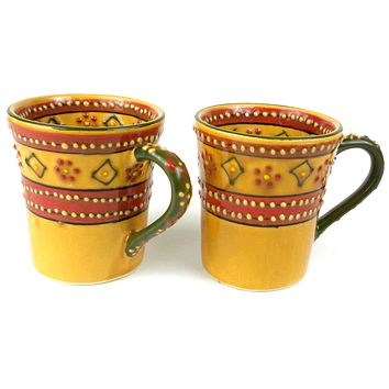 Set of 2 Hand-painted Flared Mugs Mexican Ceramic Pottery in Red