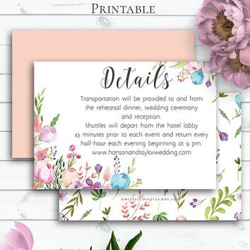 Customized Floral Wedding Card, Details Card, Enclosure Card,Printable Details,Watercolor Invitation Insert,Bohemian Wedding,Vintage Wedding
