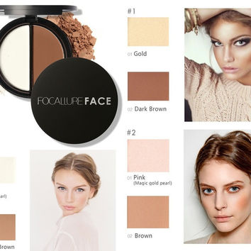 Makeup Two-Color Bronzer & Highlighter Powder Trimming Powder Make Up Cosmetic [9595400015]
