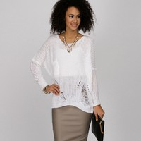 Promo-white Light As A Feather Tape Yarn Sweater