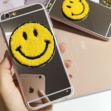 Cosmetic Mirror Smiling Face  Phone Case Cover for Apple iPhone 7 7 Plus 5S 5 SE 6 6S 6 Plus 6S Plus + Nice gift box!