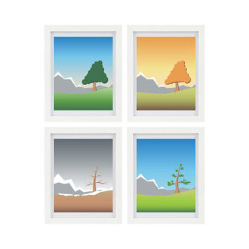 Four Seasons, Set of 4 Prints, Summer, Fall, Winter, Spring, Four 8 x 10 Digital Illustrations
