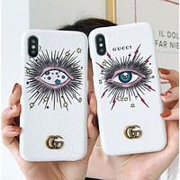 GUCCI Trending Stylish Leather Blue Eye Pattern Mobile Phone Cover Case For iphone 6 6s 6plus 6s-plus 7 7plus iPhone8 iPhone X White I13652-1
