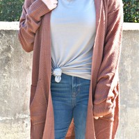 Don't Be Late Hooded Cardigan - Burgundy