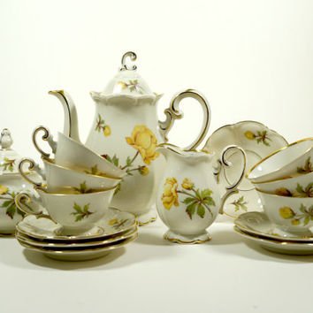 Vintage Coffee Set, Vintage Coffee Cups, Demitasse Cups, Espresso Cup Saucer, Coffee Server, Vintage China Set, Unique Coffee set, Bavaria