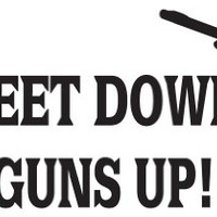 "Feet Down Guns up Duck Hunting Vinyl Die Cut Decal Sticker 6"" White"