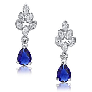 Teardrop and Marquise Cubic Zirconia Leaf Earrings (Blue)
