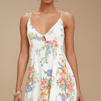 Lily Pond White Floral Print Swing Dress