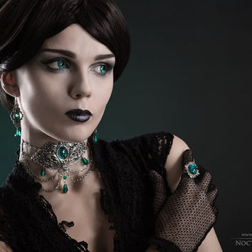 Gothic Metal Choker - Silver Filigree Choker with Green Stones and Crystals - Gothic Jewelry