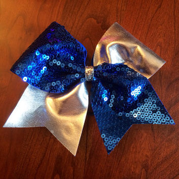 Cheer Bow - Blue sequin and silver