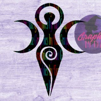 Triple moon Spiral Goddess, SVG cut file for Cricut and Silhouette cutting machines