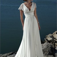 Elegant Deep V- neck Empire Waist Chiffon A-line Small Train Wedding Dress WD0045