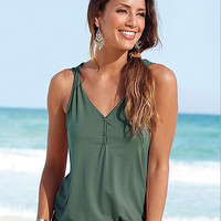 Army Green V Neck Button Tank Top 10343