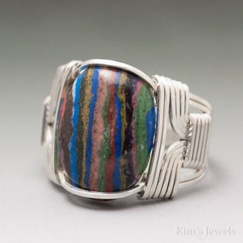 Rainbow Calsilica Sterling Silver Wire Wrapped Cabochon Ring