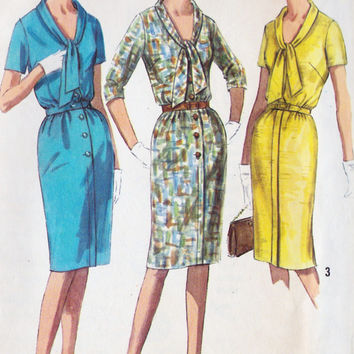 1960s Misses One Piece Dress Vintage Sewing Pattern, Office Fashion, Mad Men, Simplicity 6057 bust 39""