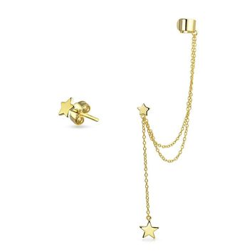 Patriotic Cartilage Ear Cuff Stud Earring 14K Gold Plated