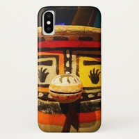 Cute, funny, silly, carved wood kachina face photo iPhone x case