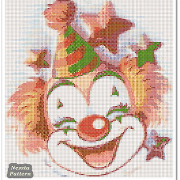 Clown Cross Stitch Pattern, circus x stitch pattern, Cross stitch Embroidery, Embroidery pattern