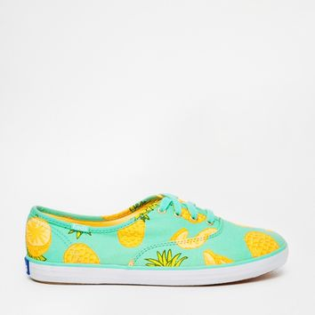 Keds Champion Pineapple Print Plimsoll Trainers