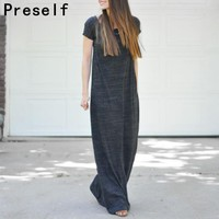 Preself New Autumn Winer Casual Maxi Fashion Long Dress Vestidos with Short Sleeve Plus Size for Women and Ladies 6XL