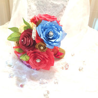 Red, ivory and gold paper rose and peony wedding bouquet, Will be made in colors of your choice, Unique bridal bouquets, Red throw bouquet