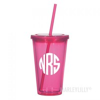 Monogrammed 16oz Double Wall Acrylic Cup | Marleylilly
