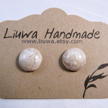 Pearl Clay Dot Post Earrings Surgical Stainless Steel by Liuwa