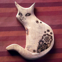 Cat Wall Hanging with Pyrography (Wood burning) Carving in beech, Wall art, wood carving, cat ornament, cat decor, gift cat lover, uk,
